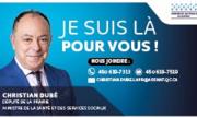 Christian Dubé - Coalition Avenir Québec - Député de La Prairie - carte d'affaire